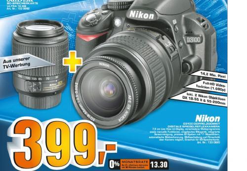 Nikon D3100 Doppelzoomkit 18-55 mm + 55-200 mm Saturn deutschlandweit !