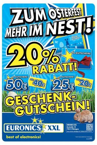[Lokal @ Euronics XXL in 74613 Öhringen] 20% Rabatt auf Geschenkkarten, 50€ für 40€, 25€ für 20€