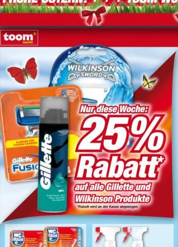 25 % auf alle Gillette und Wilkinson Produkte im toom (Supermarkt Gießen), evtl Bundesweit (bis 30.3.)