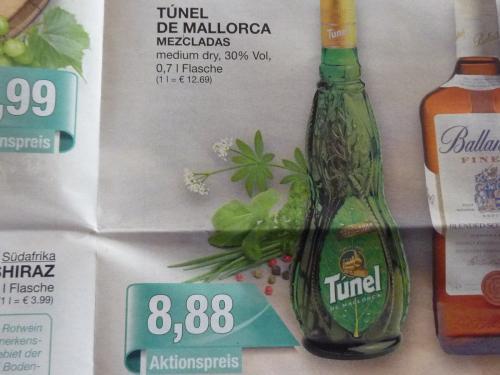 Vorfreude auf Mallorcaurlaub: 0,7l Tunel de Mallorca Hierbas medium dry für 8,88€ @Marktkauf [offline]