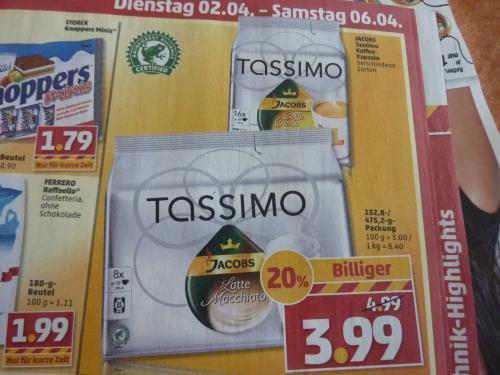 Tassimo Latte macchiato oder Caffe Crema 3,99€ [offline] @penny