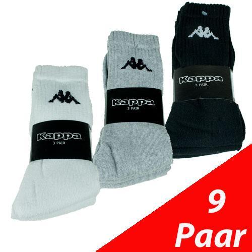 [@at the bay] 9 Paar Kappa Sportsocken Socken schwarz, weiss, grau (Buchtware)