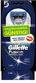 Gillette® Fusion® ProGlide™ Silvertouch kostenlos (Geld zurück), wenn nicht geküßt