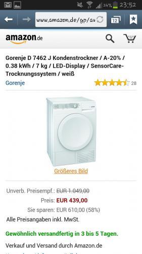 (Amazon) Gorenje D 7462 J Wärmepumpen Trockner  A-20% / 0.38 kWh / 7 kg / LED-Display  zum Tiefstpreis