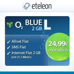 O2 Blue L all in (2 GB LTE) für 24.99€ monatlich (Mobilcom)