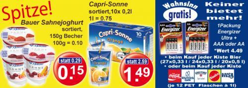 [Regional] 4er Pack Energizer Ultra+ gratis zu jeder Kiste Bier und vielen anderen Getränkekisten. 10er Capri-Sonne €1,49 und Bauer Sahnejoghurt 0,15€.