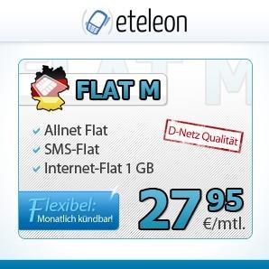 Allnet-Flat, Festnetz-Flat, SMS-Flat, 1 GB im Vodafone-Netz (RED-M Alternative) - 1MONAT Laufzeit