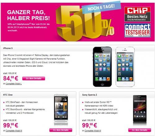 Für Telekom Neukunden: 50% Rabatt auf iPhone 5, HTC One, Samsung G S3 & Co.