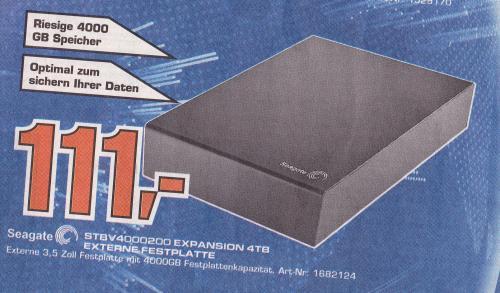 Saturn Aachen nur am Sonntag Seagate Festplatte 4TB für111€