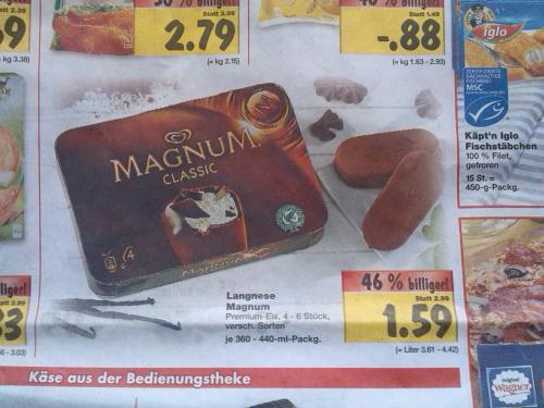 4x Magnum verschiedene Sorten @Kaufland für 1,59 € und MAGGI FIX für 0,39 € ab Montag 8.4. Bundesweit?