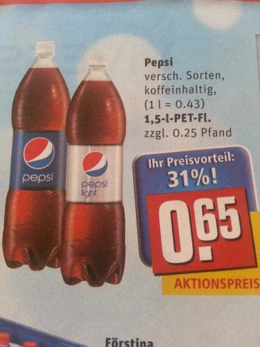 Rewe - Pepsi, verschiedene Sorten, 1.5l nur 0.65€