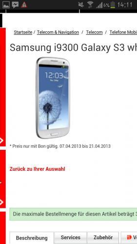 (Schweiz) Samsung Galaxy S3 White 16gb zum Bestpreis