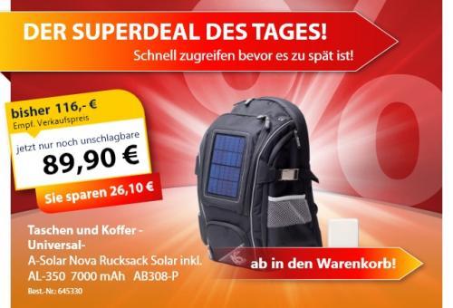 A-Solar Nova Rucksack Pro inkl. AL-350 7000mAh Power Bank für 89,90€ statt 116€