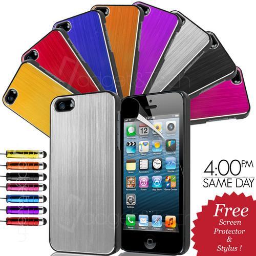 Gebürstete Aluminium Iphone 5 Hülle + Schutzfolie + Kapazitiver mini Stift für nur 2,34 EUR inkl. Versand [UK]