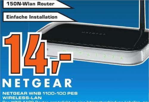 [ Saturn Hattingen ] Netgear WNB1100 Netzwerk WLAN Router  + WNA100 PES USB-Stick  14€