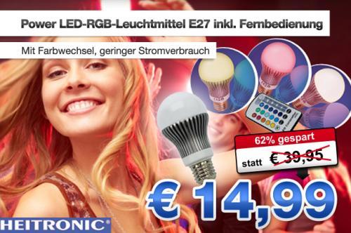 LED E27 RGB Glühlampe Birne Lampe 5W + Fernbedienung Farbwechsel für 14,99€