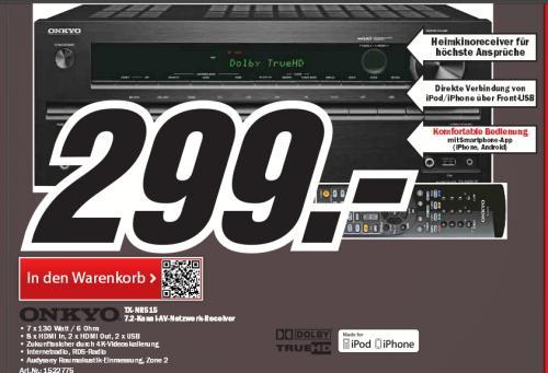 Onkyo TX-NR515 7.2 Netzwerk AV-Receiver für Apple iPhone/iPod (HD-Audio, 3D Ready, RDS, USB 2.0, 130 W/Kanal) schwarz Mediamarkt.de  299€