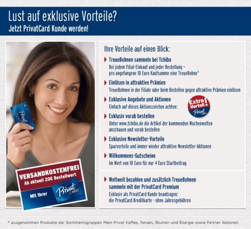 Tchibo PrivatCard für 4€ Startbeitrag und 10€ Willkommens Gutschein erhalten