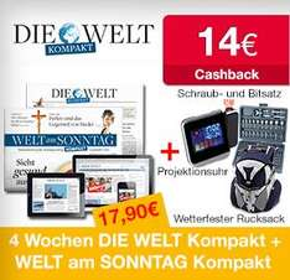 DIE WELT Kompakt in Kombination mit der WELT am SONNTAG Kompakt im 4-Wochen-Kurzabo für nur 17,90 inkl. Zugabe + 14€ Cashback