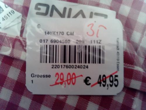 Tischdecke 2,75€ statt 49,95€ = 94,5% Reduzierung