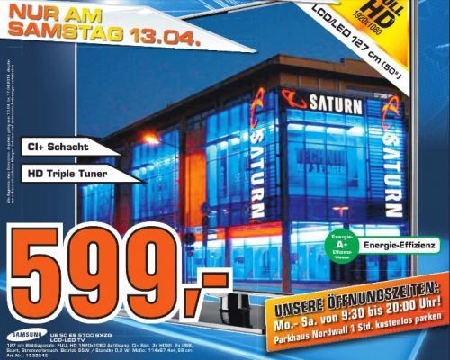 [ Saturn Celle ]  Samsung UE50ES5700SXZG 127 cm (50 Zoll) LED-Backlight-Fernseher, EEK A+ (Full HD, 100Hz, DVB-T/C/S2) hochglanz-schwarz 599€