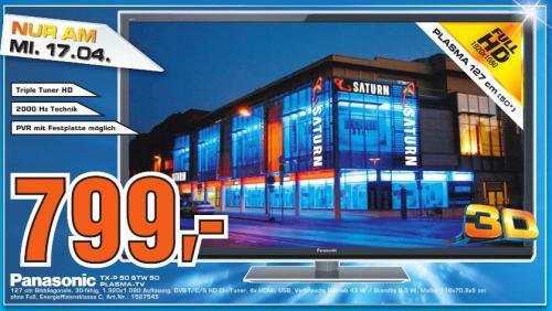 [ Saturn Celle ]  TX-P50STW50 Smart VIERA NeoPlasma TV mit 127cm/50 Zoll  3D  2000Hz  HD DVB-S/-T/-C USB-Recording  799€