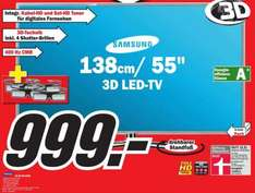 [LOKAL MM KA] Samsung UE55ES6990: 999 EUR - Dyson DC 19 219,- - Tassiomo TAS2002 39,- - Bauknecht WA Plus 624 TDI für 399,- uvm.