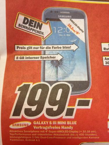 [lokal] Samsung Galaxy S III mini 8GB blau für 199 Euro @ MM Osnabrück