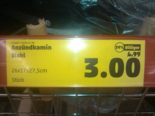 [Lokal Penny Eching]  Anzündkamin schwarz für 3 Euro