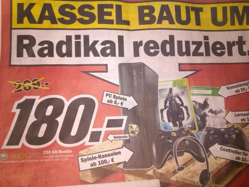 [Media Markt Kassel] XBOX 360 250GB Bundle + 2 Controller + Headset + 2 Spiele für 180 Euro