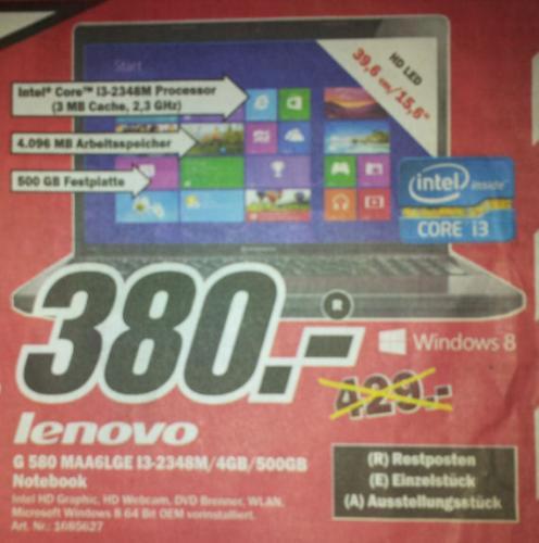 "lokal MediaMarkt Dietzenbach - Notebook LENOVO  G580 MAA6LGE 15.6"" (i3-2348M) für 380 €"