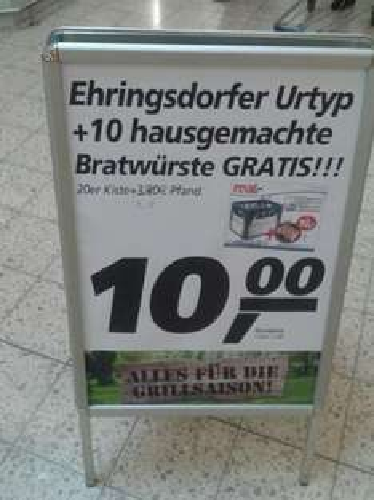 [LOKAL] 1 Kasten Bier + 10  original Thüringer Bratwürste für 10€