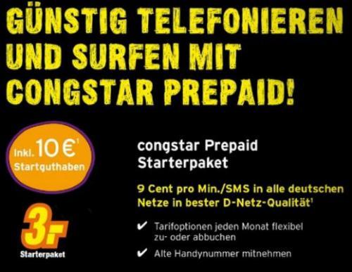 [expert] Congstar Prepaid Karte mit 10€ Startguthaben für 3€