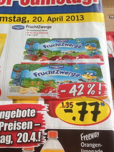 Lidl Danone Fruchtzwerge 6 Stk. für 77 Cent! Nur am 20.04.