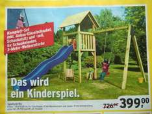 Spielturm Ole, inkl. 3-m-Wellenrutsche, Anbau-Einzelschaukel, Schaukelsitz & Seil --> OFFLINE MAX BAHR