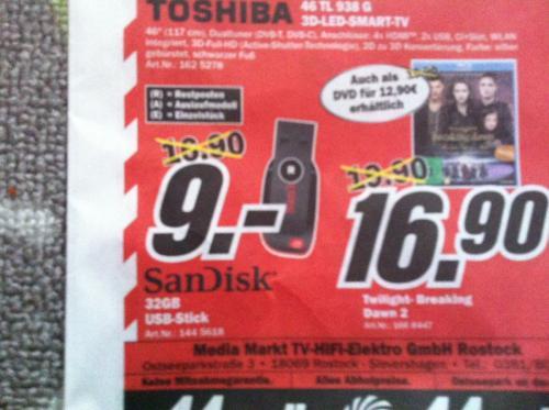 SanDisk USB-Stick 32GB für 9€ im Mediamarkt Rostock Sievershagen