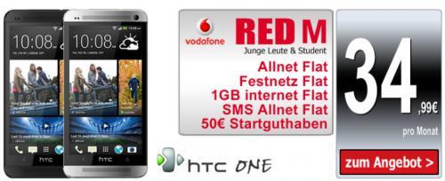 HTC One und Vodafone RED M für 34,99 für Junge Leute