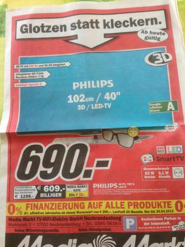 [Lokal] Philips 40PFL7007K (690€), Samsung UE46EH5200 (420€) und weitere TV-Angebote @ MediaMarkt Neubrandenburg