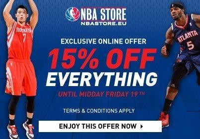 NBAStore.eu: 15% Rabatt auf gesamtes Sortiment