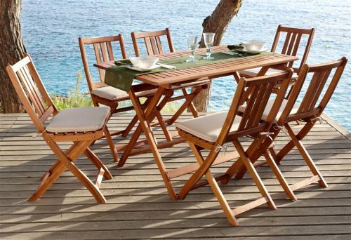 """Passend für's Wetter: Gartenmöbelset Akazien-Hartholz (13-tlg., Tisch, 6 Stühle, Auflagen) bei Baur für """"Neukunden""""  für 165,95 inkl. Versand"""