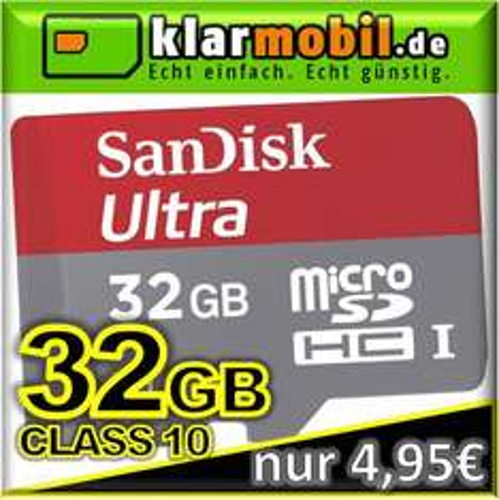 klarmobil SIM Karte + 32GB SanDisk Mobile Ultra micro SD SDHC kostenlos / gratis