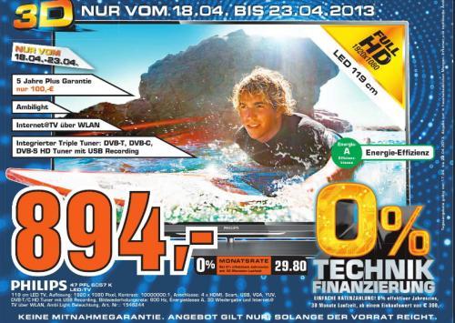 [Saturn Hattingen] 47Zoll PHILIPS 3D 47PFL6057K  Ambilight Spectra 2 DVB-S/T/C, SmartTV inkl. 4x passive 3D-Brillen  894€