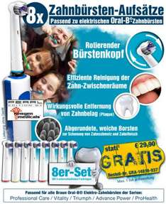 8er-Set Ersatzzahnbürsten für  Professional Care, Vitality, Triumph, Advance Power, ProHealth