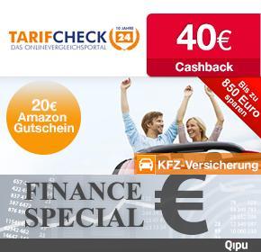 [Qipu] 20 € Amazongutschein + 40€ Cashback für KFZ-Versicherungswechsel bei Tarifcheck24