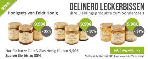 -35% auf Honig bei DELINERO - NUr 9,90€ für drei verschiedene Sorten Honig