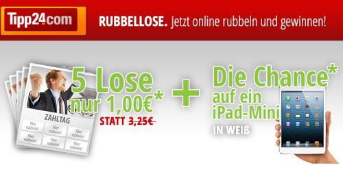 5x Rubell-Los(Max. 15.000€ Gewinn) + Gewinnspiel für ein Ipad Mini@ tipp24.com