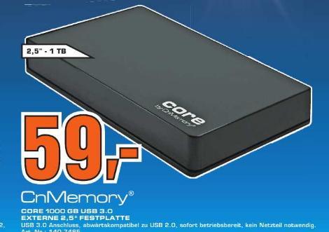 [Saturn Offenbach]  CnMemory Core 1TB Festplatte 2,5 Zoll USB 3.0 schwarz 59€