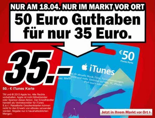 Mediamarkt 50€ Itunes-Karte