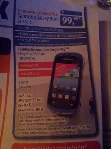 [Aldi Süd]Samsung Galaxy Music GT-S6010 für 99,99€ ab nächste Woche (idealo: ab 142€)