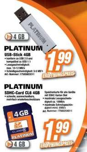 Lokal 4GB SD-Karte / USB-Stick für 1,99  -  Eröffnungsangebot EXPERT-Steinfurt